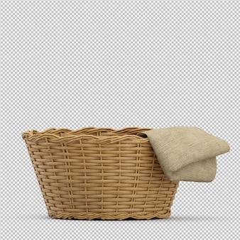 Isometrischer picknickkorb lokalisiertes 3d übertragen
