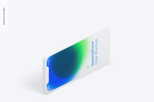 Isometrischer ton iphone 12 mockup, querformat linke ansicht
