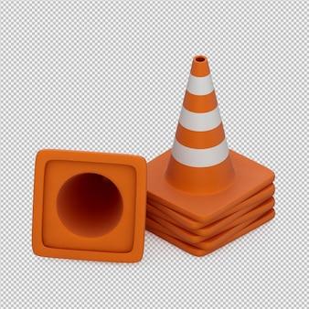 Isometrischer warnungskegel 3d übertragen
