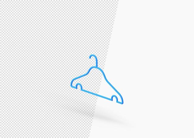 Isometrisches 3d-symbol des kleiderbügels aus kunststoff