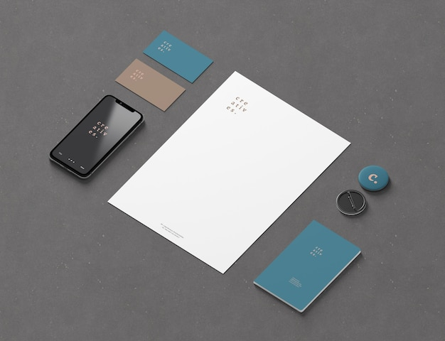 Isometrisches branding und schreibwarenmodell