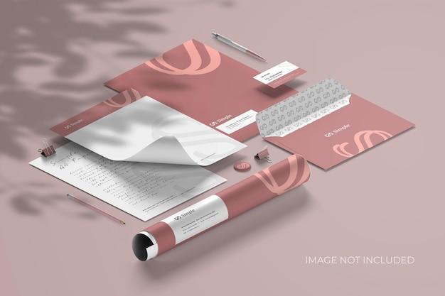 Isometrisches briefpapier-branding - mockup scene creator