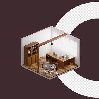 Isometrisches design-3d-rendering der cafe-raumillustration