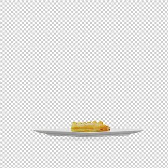 Isometrisches essen auf dem teller