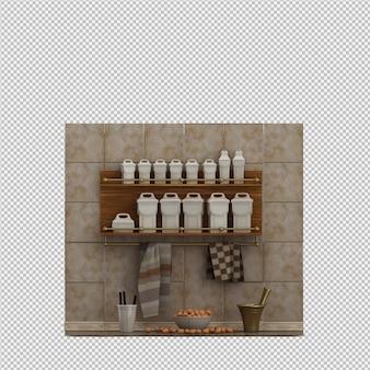 Isometrisches küchen-zubehör 3d übertragen