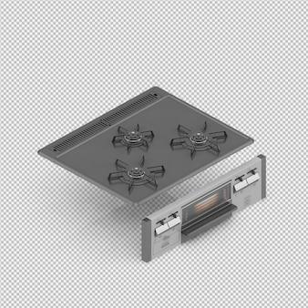 Isometrisches küchenkochfeld 3d übertragen