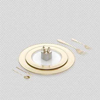 Isometrisches küchenzubehör 3d übertragen