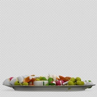 Isometrisches lebensmittel auf platte 3d übertragen