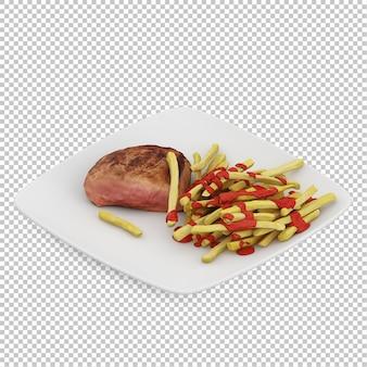 Isometrisches lebensmittel auf platte