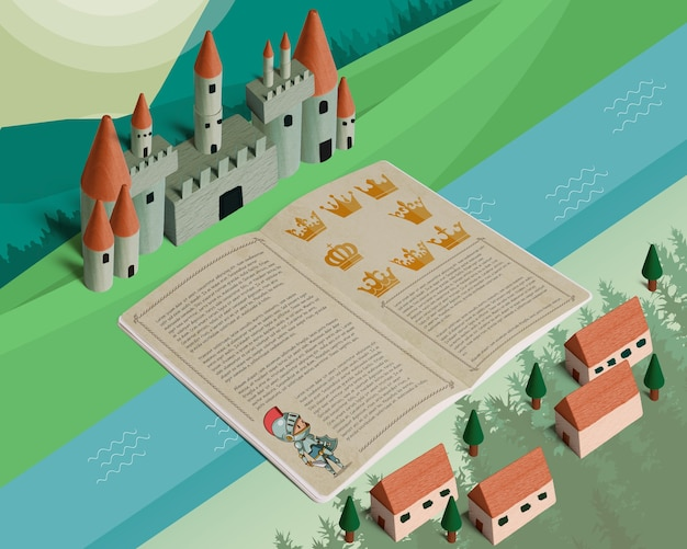 Isometrisches märchenmodell mit offener broschüre