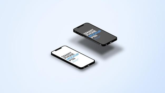 Isometrisches smartphone mockup für verschiedene app-seiten