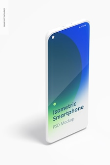 Isometrisches ton smartphone mockup, porträt rechte ansicht