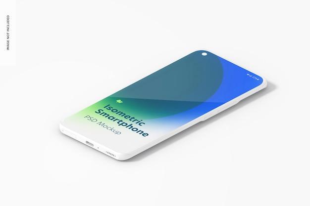 Isometrisches ton-smartphone-modell, ansicht von links