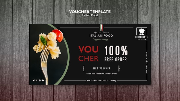 Italienische essensgutscheinschablone