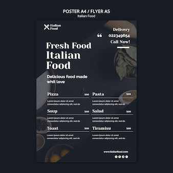 Italienische lebensmittelkonzeptplakatschablone