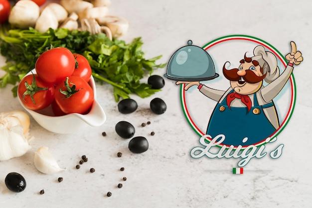 Italienische lebensmittelzutaten der nahaufnahme mit logo