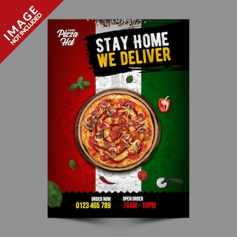 Italienische pizza flyer template serie