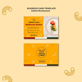 Italienische restaurant visitenkartenvorlage