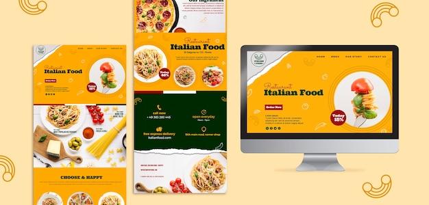 Italienische restaurant-website-entwurfsvorlage