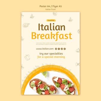 Italienischer lebensmittelplakatstil
