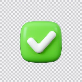 Ja oder richtiges zeichen 3d-render interface-schaltfläche isoliert auf weiß
