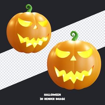 Jack o lantern halloween-kürbis mit gesichtsausdruck 3d-rendering-illustration