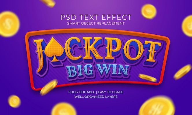 Jackpot big win text effekt