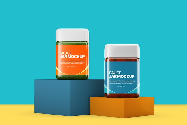 Jam container mockup design rendering