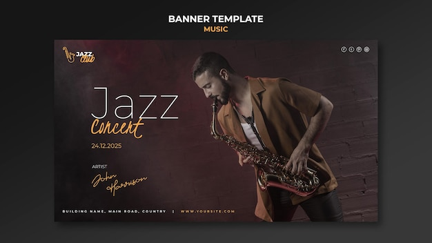 Jazz-konzert-banner-vorlage