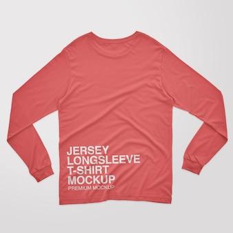 Jersey langarm-t-shirt mockup mit rückenausschnitt