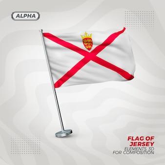Jersey realistische 3d strukturierte flagge für komposition
