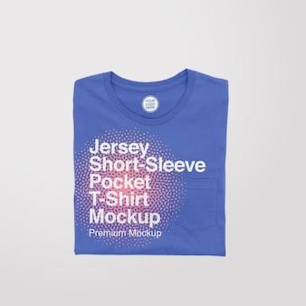 Jersey shortsleeve pocket folded t-shirt mockup