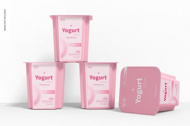Joghurt 4er pack mockup, gestapelt