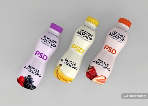 Joghurtflaschenverpackungsmodellentwurf isoliert