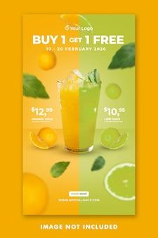 Juice drink menü social media instagram geschichten vorlage für restaurant promotion