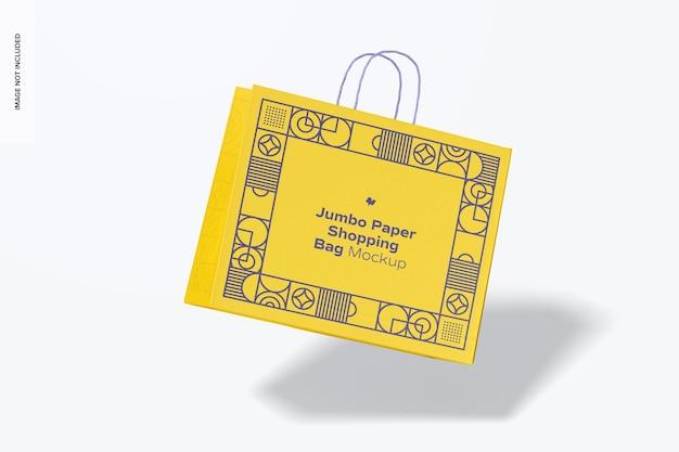 Jumbo paper shopping bag mockup, fallend Premium PSD