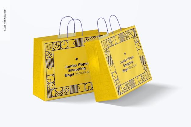Jumbo paper shopping bags mockup, perspektive