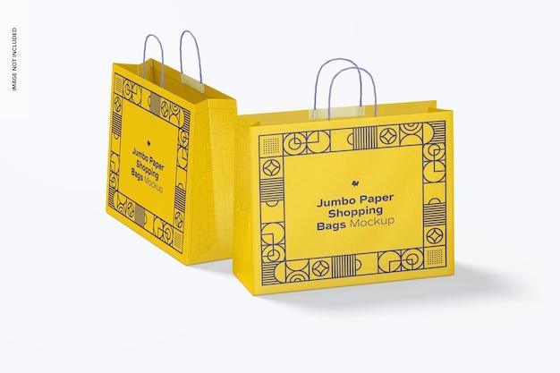 Jumbo paper shopping bags mockup