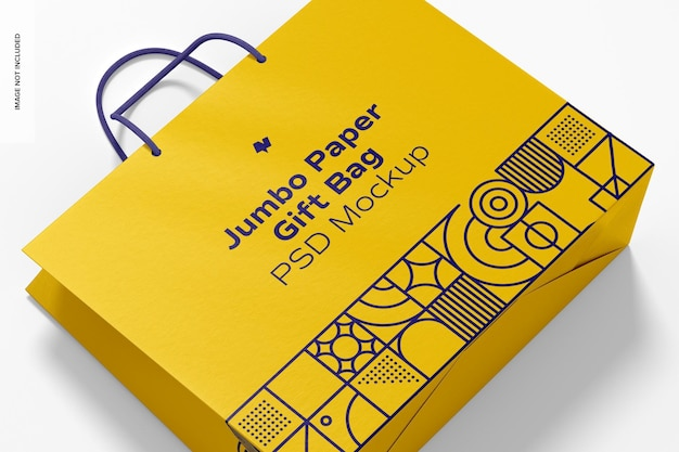Jumbo-papier-geschenktüte mit seilgriff-modell, nahaufnahme