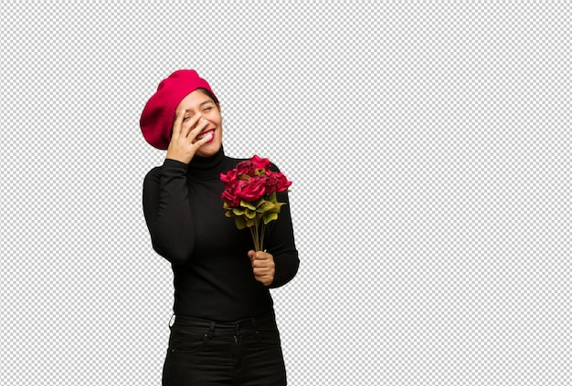 Junge frau am valentinsgrußtag verlegen und gleichzeitig lachend