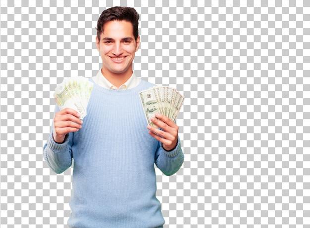 Junge hübsche gebräunte mannlohn-, kauf- oder geldkonzept