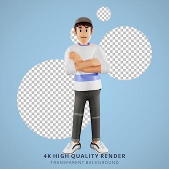 Junge leute, die arme 3d-charakterillustration verschränken