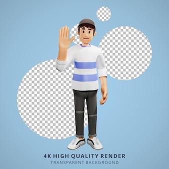 Junge leute winken den händen 3d-charakterillustration