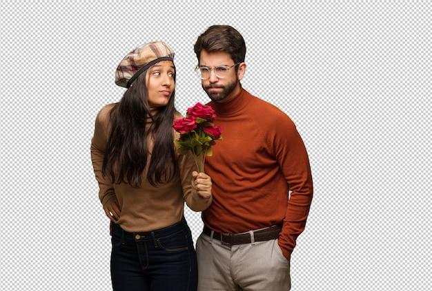 Junge paare am valentinsgrußtag jemand sehr verärgert schaltend