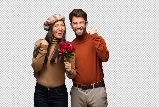 Junge paare am valentinsgrußtag überrascht und entsetzt
