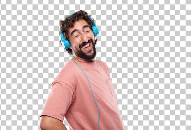 Junger bärtiger mann, der heraus mit dem kopf laut lacht, rückwärts gekippt und glücklicher, freundlicher ausdruck