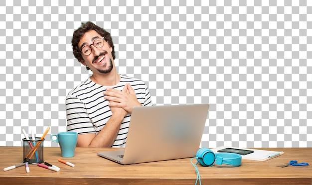 Junger bärtiger mann grafikdesigner. . in liebeskonzept