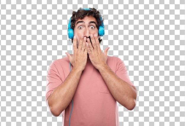 Junger bärtiger mann mit beiden händen, die seinen mund bedecken