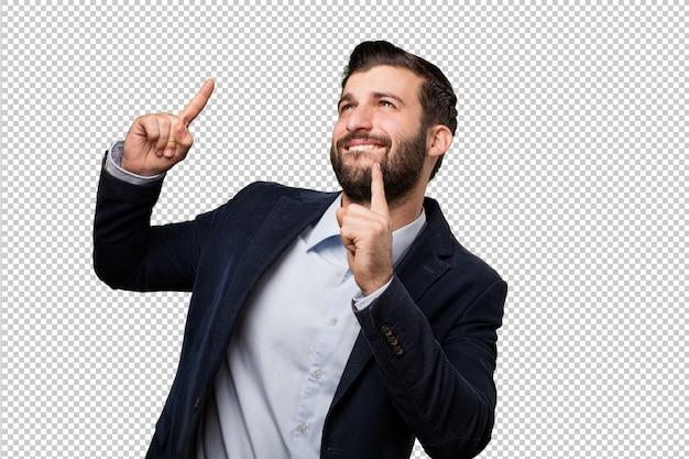 Junger geschäftsmann mit taschenrechner
