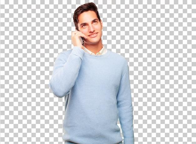 Junger hübscher gebräunter mann mit einem intelligenten touch screen telefon